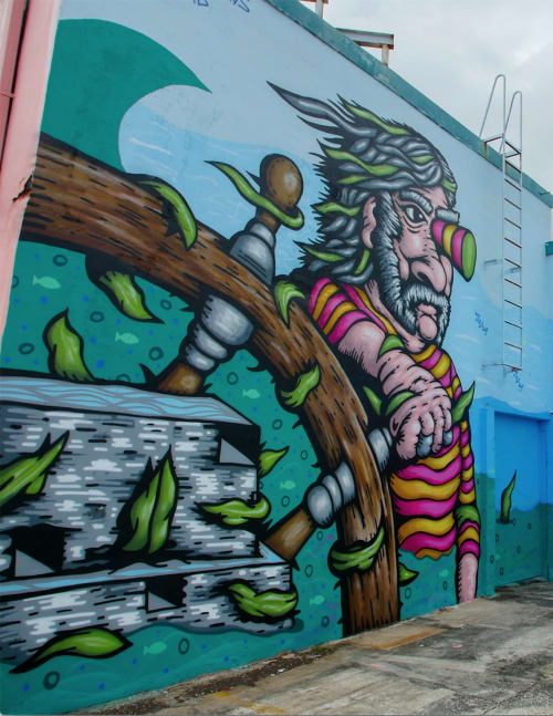 Street Murals by Denton Burrows seen at Miami River Waterfront, Miami - Old School Captain