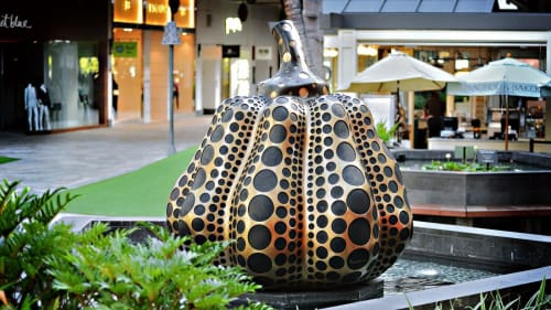 Public Sculptures by Yayoi Kusama seen at Ala Moana Center, Honolulu - Pumpkin
