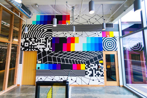 Murals by Felipe Pantone seen at Facebook HQ, Menlo Park - Facebook HQ Mural