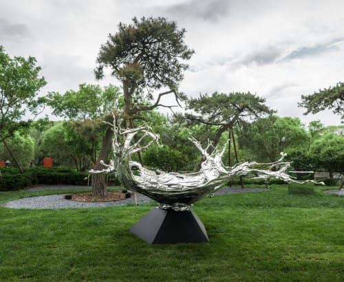 Public Sculptures by Zheng Lu seen at The Bulgari Hotel Beijing, Chaoyang - Water Dripping Sculpture