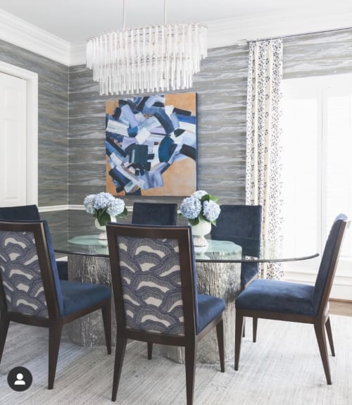 """Paintings by Sydney Yeager seen at Private Residence, Houston - """"Circle of Blue"""" Painting"""