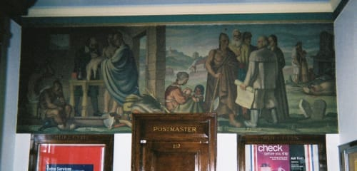 Murals by Jirayr H. Zorthian seen at United States Postal Service, St Johnsville, NY, Saint Johnsville - Mohawk Valley – Early St. Johnsville Pioneers