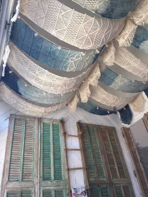Macrame Wall Hanging by Lookout and Wonderland seen at The Butcher's Daughter - Venice, Los Angeles - Indigo Dyed Macrame