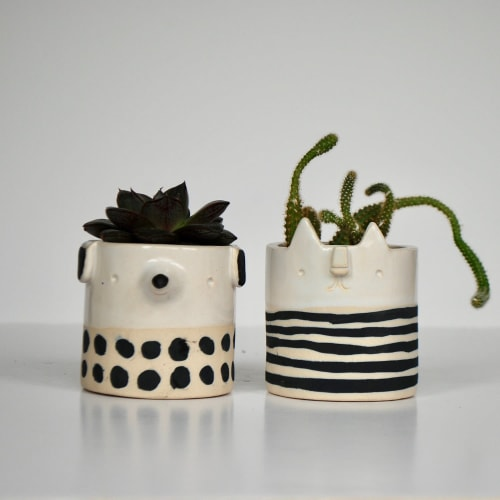 Vases & Vessels by Atelier Stella Ceramics - Small succulent pot - black & white