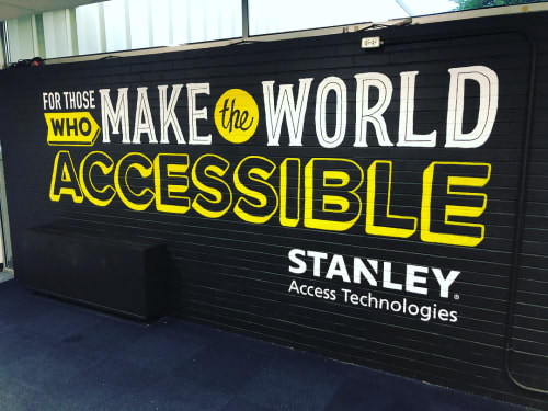 Murals by Jay Roeder seen at Stanley Access Technologies, Farmington - For Those Who Make The World Accessible