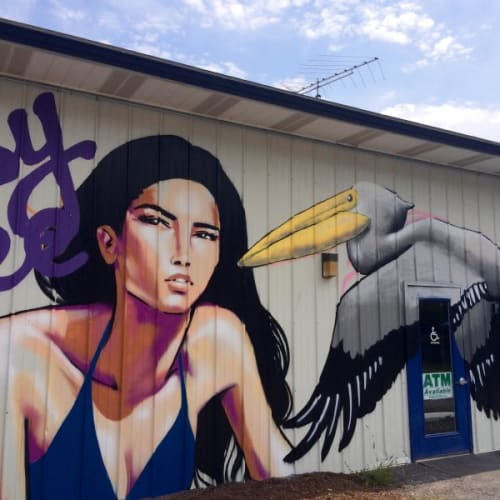 Street Murals by KAZILLA seen at Ithaca, NY, Ithaca - Girl and Pelican Mural