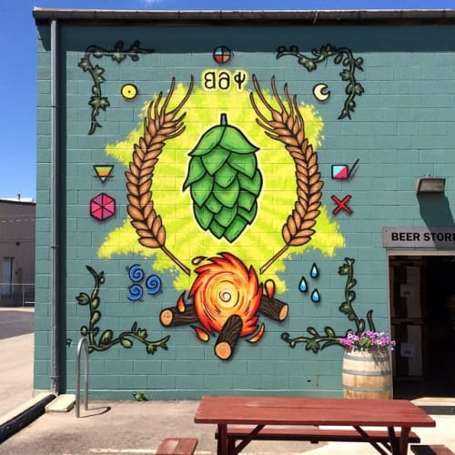 Murals by Trent Call seen at Red Rock Brewing Co. Beer Store, Salt Lake City - Mural