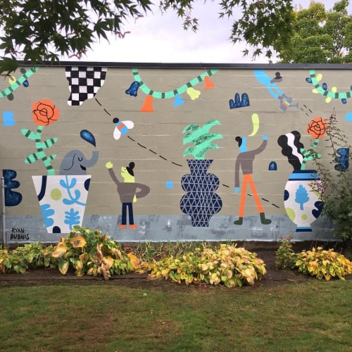Murals by Ryan Bubnis Studio seen at Private Residence, Portland - Garden Mural