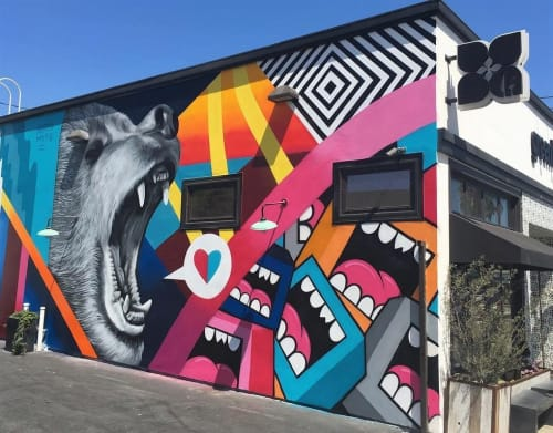 Murals by Greg Mike seen at Greenleaf Gourmet Chopshop - Venice, Los Angeles - Bear Witness