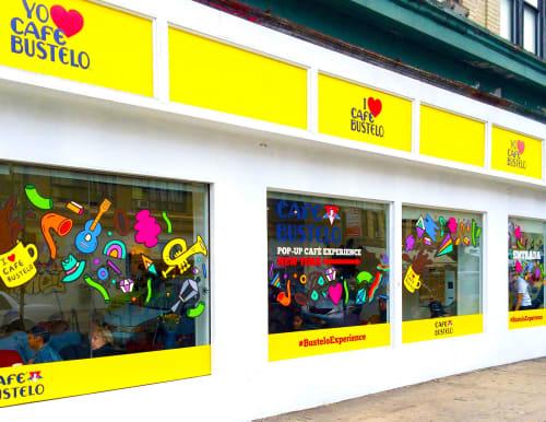 Murals by Hyesu Lee seen at Café Bustelo, New York - Graffiti Art