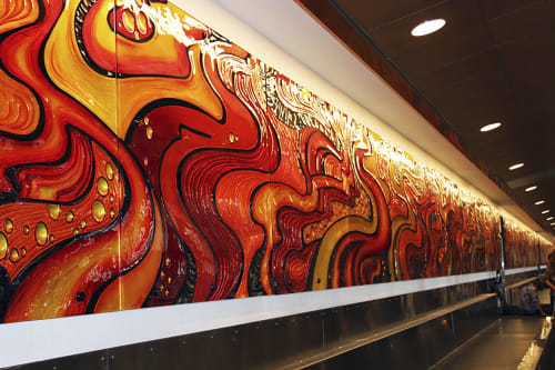 Murals by Curtis Stokes seen at Daniel K. Inouye International Airport, Honolulu - Mural