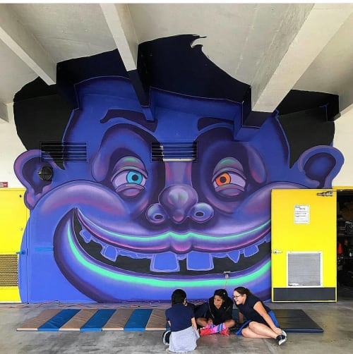 Murals by James Oleson seen at Eneida M. Hartner Elementary School, Miami - The Raw Project Mural