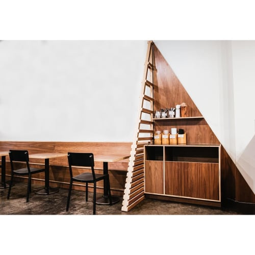 Furniture by Trey Jones Studio seen at Broadcast Coffee Roasters, Seattle - Custom Shelves