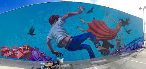 Murals by John Park seen at Main Street Cafe - El Segundo, CA, El Segundo - Flying or Falling II 2015