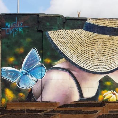 Street Murals by Rogueoner seen at Pacitti Garden, Glasgow - Flower Girl