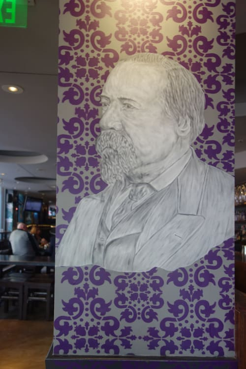 Murals by Hugh Leeman seen at Jasper's Corner Tap and Kitchen, San Francisco - Jasper O'Farrell Portrait