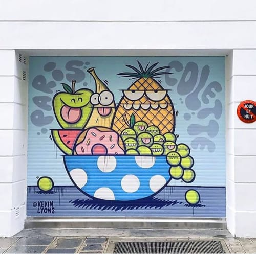 Murals by Kevin Lyons seen at Colette, Paris - Garage Door