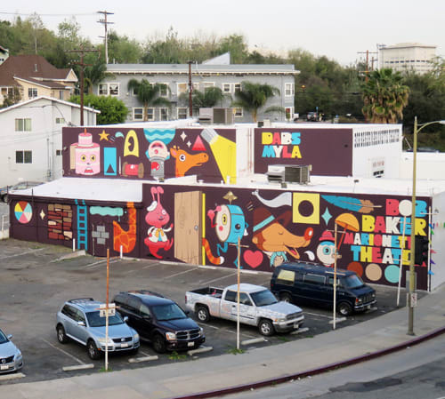 Murals by Dabs Myla seen at Bob Baker Marionette Theater, Los Angeles - Theater Mural