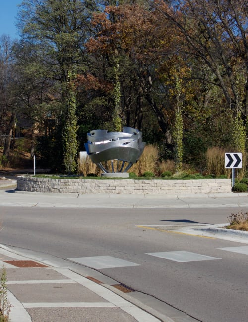 Public Sculptures by Foster Willey seen at Downtown East Lake St Roundabout, Wayzata, MN, Wayzata - Big Water 2017