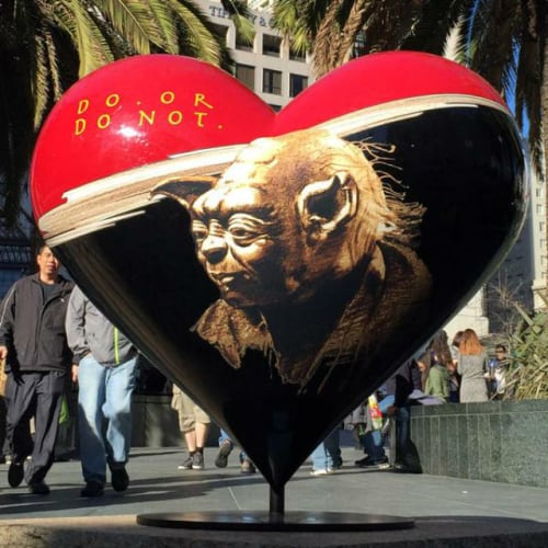 Public Sculptures by Lawrence Noble seen at Union Square, SF, San Francisco - Yoda Heart at Union Square