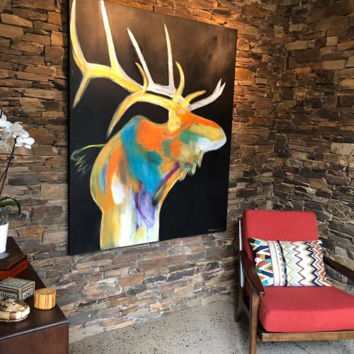 Paintings by Rhea Ashcraft Art seen at Private Residence, Flagstaff, Flagstaff - Elk