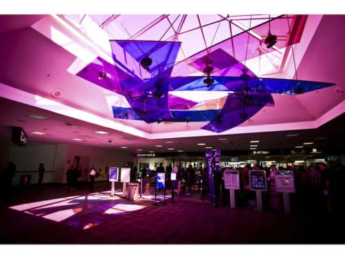 Sculptures by Christopher Janney seen at Sacramento International Airport, CA, Sacramento - Chromatic Oasis