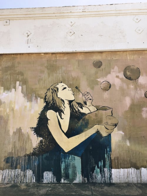 Street Murals by Kim West at E. 3rd St at S. Hewitt, LA, Los Angeles - The One With The Bubbles