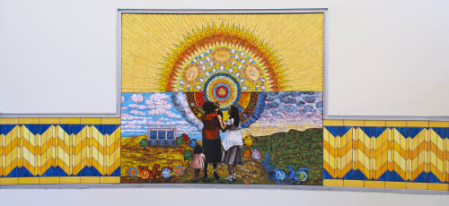 Murals by Terry Braunstein seen at Sun Valley Health Center, San Fernando - Sun Salutations