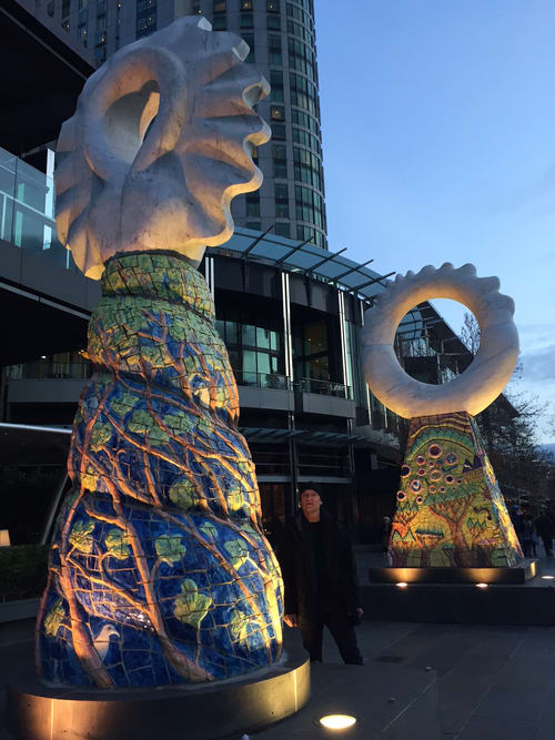 Sculptures by Simon Rigg seen at Crown Melbourne, Southbank - Guardians
