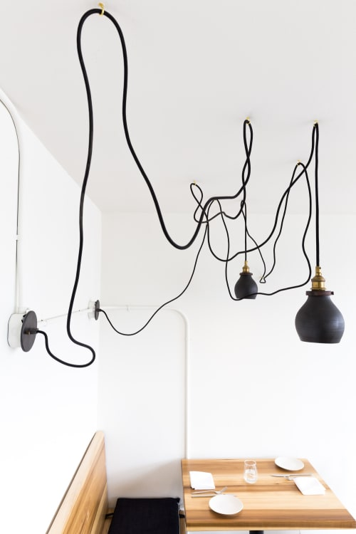 Lighting by Mel Rice Ceramica seen at Lord Stanley, San Francisco - Black Ceramic Lamps
