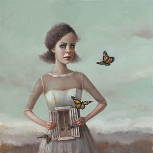 "Paintings by Chavez Gallery seen at Chavez Gallery, Colorado Springs - ""Butterflies in the Stomach"""