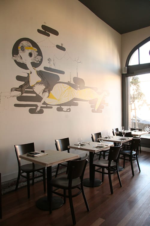 Murals by Kelly Tunstall seen at Bar Crudo, San Francisco - Mermaid Murals