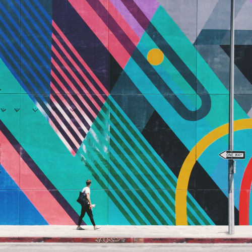 Street Murals by Teddy Kelly seen at Fashion District, Los Angeles - Mural