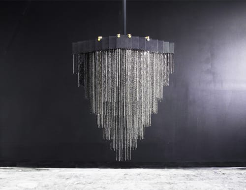 Chandeliers by Gabriel Scott seen at Park Slope Townhouse, Brooklyn, NY, Brooklyn - Kelly Chandelier (Black)