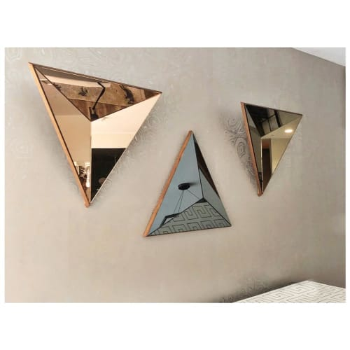 Art & Wall Decor by Robert Sukrachand seen at Park Francis, Jersey City - Peach, Gray and Bronze Volume Mirrors