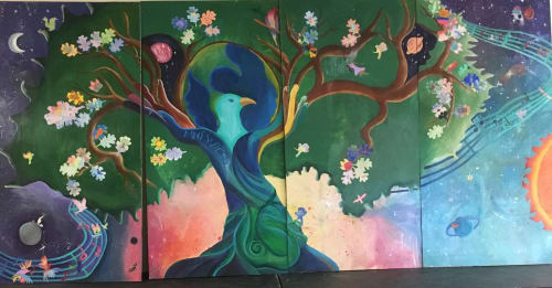 Murals by Laurie Marshall seen at Credo High School, Rohnert Park - Oak Singing Tree of One Planet Living