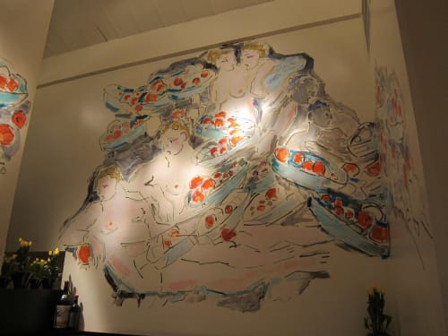 Murals by Judy Rifka seen at Union Square Café, New York - Mural from 16th street