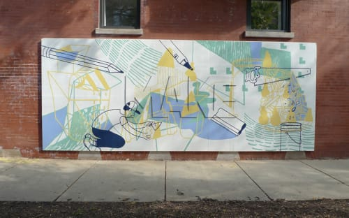 Murals by Chad Kouri seen at Wicker Park Chamber-Commerce, Chicago - Orange Mural Project