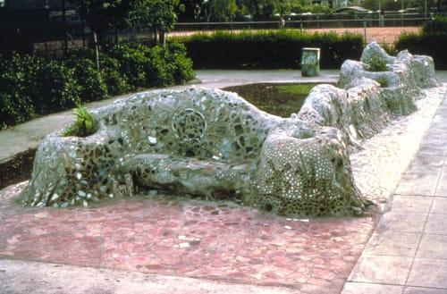 Public Sculptures by Andrew Werby seen at Willard Park, Berkeley - Berkeley Potter's Wall