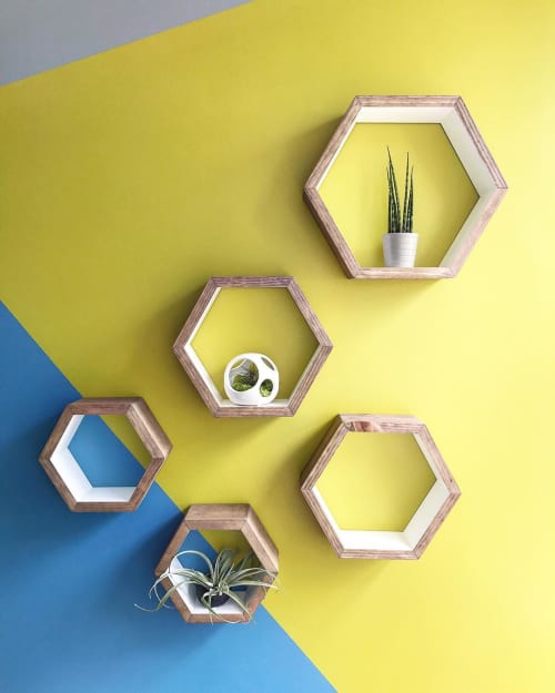 Wall Hangings by Roaming Roots at Private Residence in Kansas City, KS, Kansas City - Honeycomb Hexagonal Shelves