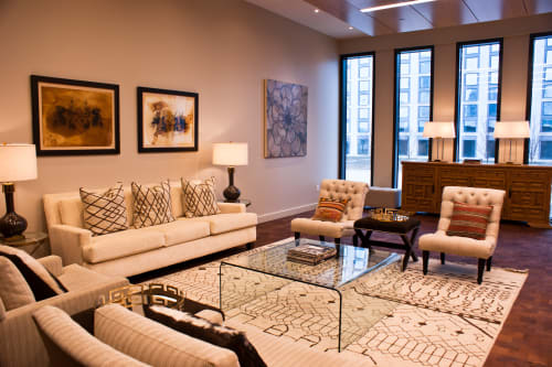 Paintings by Anna Jaap at Private Residence, Nashville - Chic lounge grouping