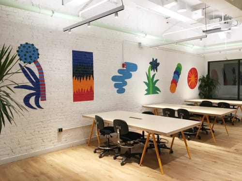 Murals by Sidney Howard seen at WeWork, New York - Doodle Mural