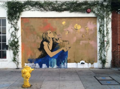 Street Murals by Kim West seen at E. 3rd St at S. Hewitt, LA, Los Angeles - The One With The Bubbles