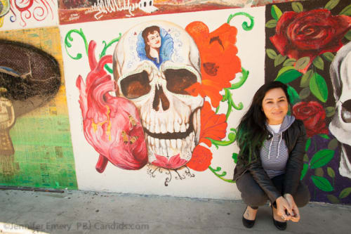 Murals by Monique Kimberly Sugar seen at Mercado Hollywood, Los Angeles - Skull Mural
