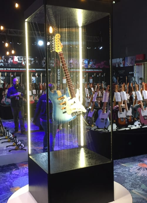 Sculptures by John A. Peralta seen at Fender Hollywood, Los Angeles - Stratocaster
