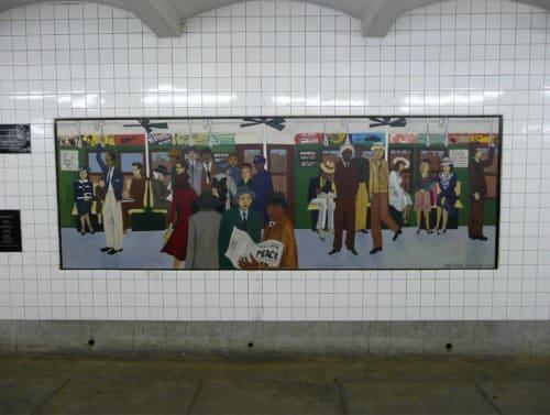 Murals by Gwynne Duncan seen at Clinton-Washington Avenues Station, Brooklyn - Smith & 9th