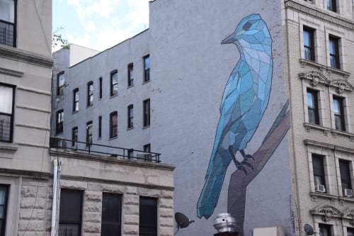 Street Murals by Mary Lacy seen at 3668 Broadway, New York - Pinyon Jay