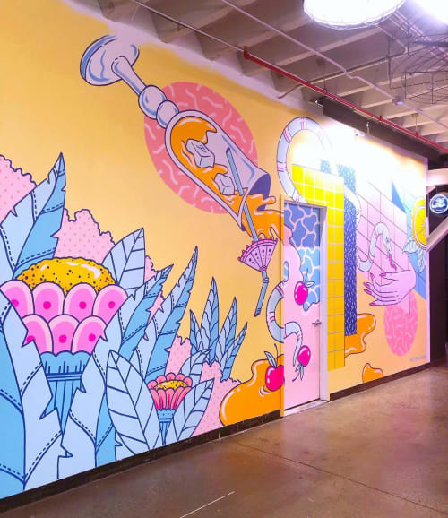 Murals by Kristen Liu Wong seen at Industry City, Brooklyn - Still Life With A Big Spill