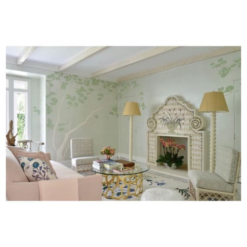 Art & Wall Decor by Christa Wilm seen at Private Residence, Palm Beach - Shell Mosaic Fireplace