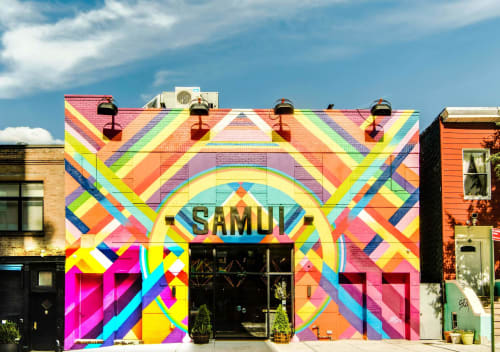 Murals by Andrea von Bujdoss (Queen Andrea) seen at Samui, Brooklyn - Geometry Facade Mural